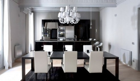 black and white apartment interior design