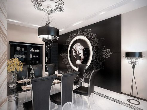Luxurious-Apartment-Dining-Room-Design-with-White-and-Black-Color